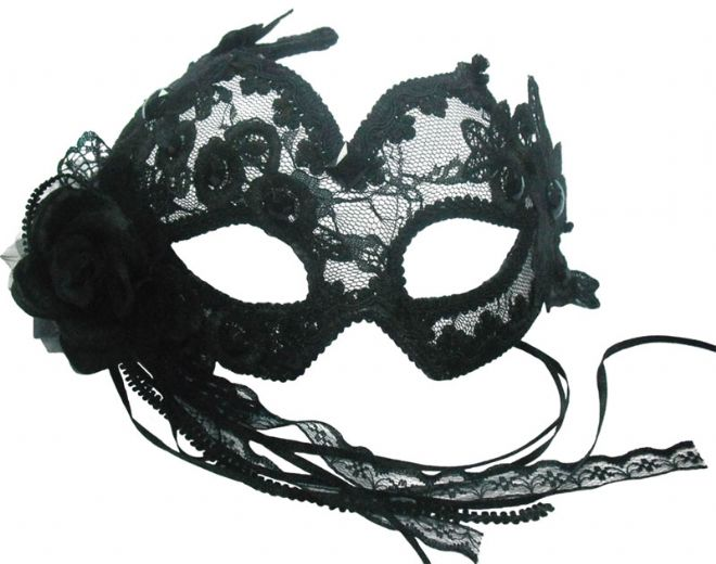 Black lace burlesque mask with headband or ribbons
